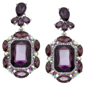 Emerald Cut Tanzanite Rhinestone Crystal Earrings
