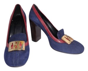 Tory Burch Logo Suede Blue Pumps