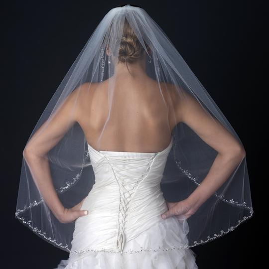 Elegance by Carbonneau Ivory Medium Beaded Edge Fingertip Length Bridal Veil