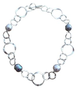 Majorica Hammered Link Sterling Silver Baroque Pearl Statement Necklace