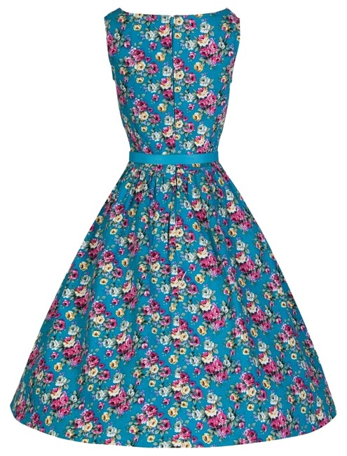 Preload https://img-static.tradesy.com/item/14897776/lindy-bop-turquoise-blue-audrey-50-s-floral-pinup-swing-uk-s-10-knee-length-cocktail-dress-size-4-s-0-1-650-650.jpg