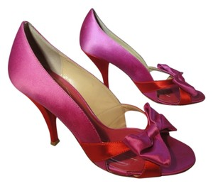 Kate Spade Color-blocking Red Bow Pink Pumps