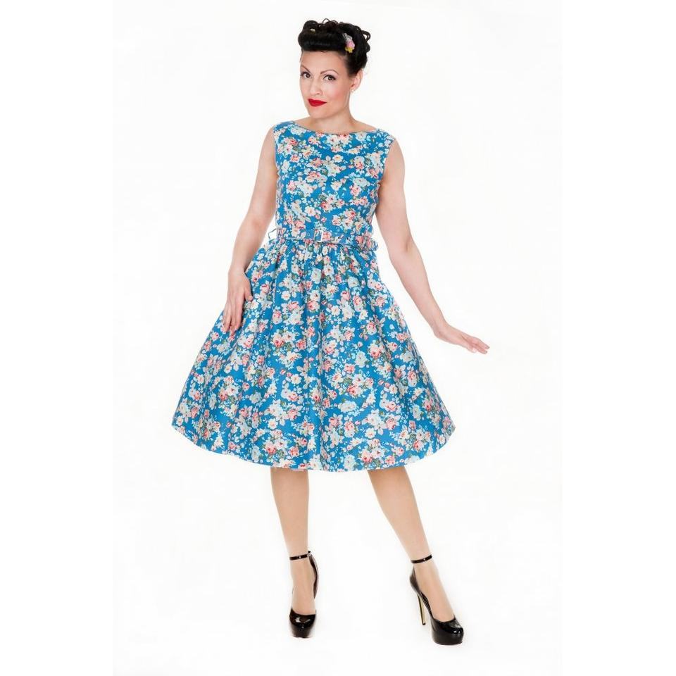 Lindy Bop Turquoise Blue \'audrey\' Classy 50\'s Floral Pinup Swing Uk ...