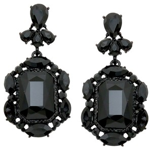Other Emerald Cut Black Rhinestone Crystal Earrings