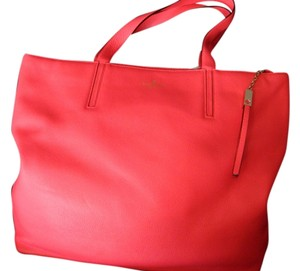 Kate Spade Leather Shopper Hotrose Tote in CORAL PINK
