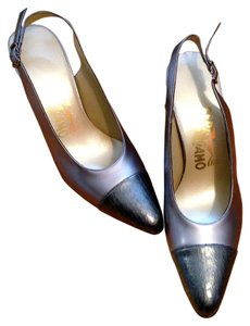 Salvatore Ferragamo Heels Lizard Office Party Silver Pumps