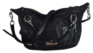 Coach Hobo Leather Silver Hardware Satchel in black