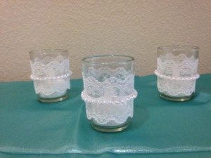 Lace And Pearl Votive Candle Holders