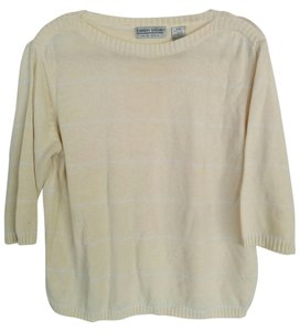 Carolyn Taylor Cream Striped Vintage Classic Boat Neck Sweater