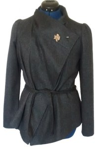 Sisley Shawl Collar Open Flap Brooch Dark grey Jacket
