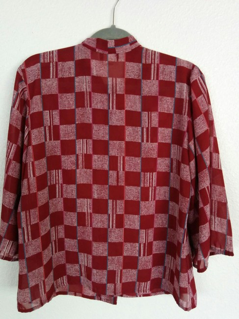 Liberty House of Hawaii Vintage Tie Silk Ruffle Polka Dot Button Down Shirt Red