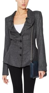 Zac Posen Tweed Ruffle Fitted Gray Blazer