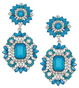 Other Rhinestone Crystal Blue Floral Earrings