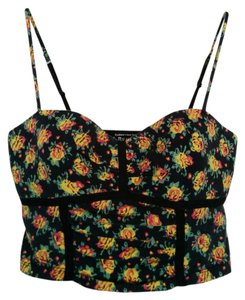 Victoria's Secret Crop Bra Fitted Floral Top Yellow, Red, Green, Black