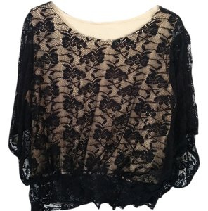 Studio by JPR Floral Lace Nude Shell Ruffle Top Black