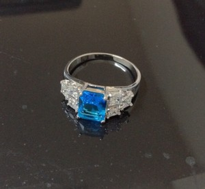 Unknown Blue Natural Gem Engagement Ring Size 9