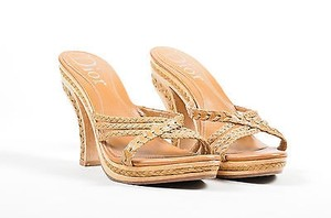 Dior Tan Leather Wood Braided Brown Sandals