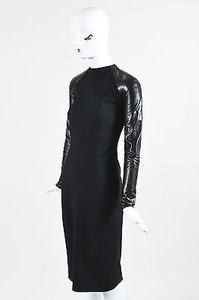 Ralph Lauren Collection Runway Wool Leather Midi Megan Dress