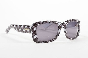 Saint Laurent Yves Saint Laurent Black And White Dark Tint Tartan Print Rectangular Sunglasses