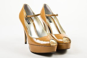 Dolce&Gabbana Camel Patent Leather Peep Toe Platform Mary Jane Brown Pumps