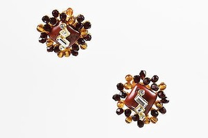 Christian Lacroix Vintage Christian Lacroix Multicolor Stone Crystal Bead Cluster Clip On Earrings