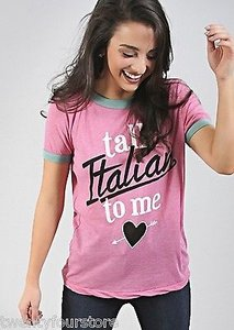 Wildfox Couture Talk Italian To Me Vintage Ringer In Bougainvillea T Shirt Pink
