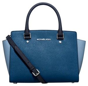 Michael Kors Saffiano Leather Mk Signature Satchel in Steel / Sky Blue/ silver tone