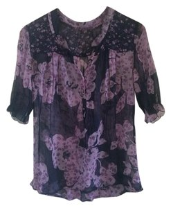 Lucky Brand Sheer Floral Sheer Top navy/purple