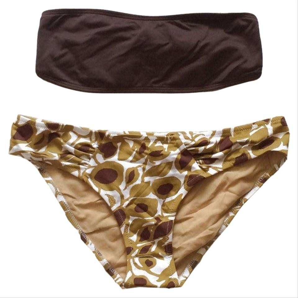 d018f783d9 BCBGMAXAZRIA Chocolate Wine Sunflower and White Bandeau Top & Floral Print  Hipster Bottom Swimsuit Bikini Set