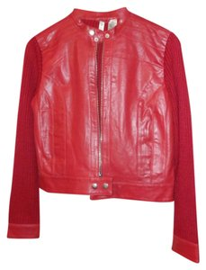 twiggy LONDON Leather Wool Red Leather Jacket