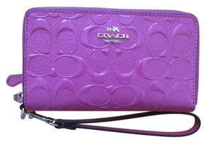 Coach Coach F53960 Double Zip Signature Debossed Patent Leather DAHLIA Wallet - NWT