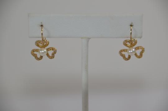 Yellow Gold 1/2ct. Genuine Diamonds Fresh Water Pearl 14k Solid Drop Earrings