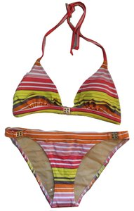 BCBGMAXAZRIA Striped with Gold Icons Bikini Swimsuit