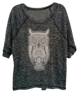 Bobeau Crochet Owl Burnout Soft Sweater