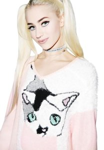 Wildfox Cat Joan Couture White Label Sweater