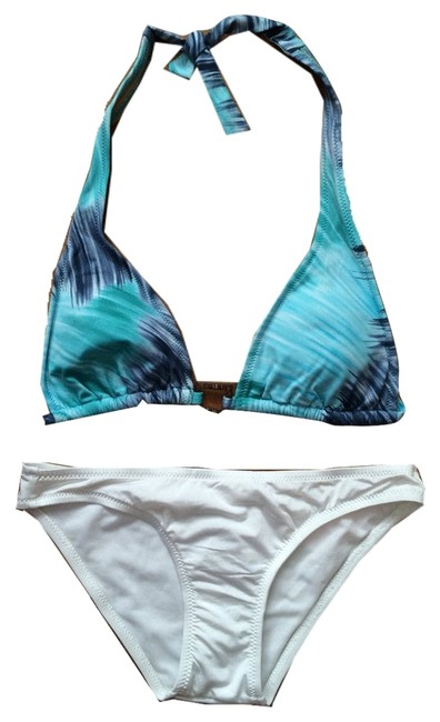 Preload https://img-static.tradesy.com/item/14902690/bcbgmaxazria-indigo-and-white-halter-swimsuit-with-wooden-ring-detail-bikini-set-size-2-xs-0-1-650-650.jpg