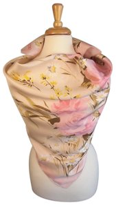 Valentino Rose Pink Floral New Couture Silk Twill Foulard Scarf Wrap Luxury Gift Feminine Bridesmaid/Mob Dress Size OS (one size)