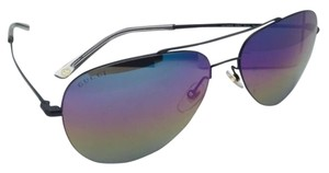 Gucci New GUCCI Aviator Sunglasses GG 2245/S 006R3 59-14 Black Frame w/ Rainbow Mirror