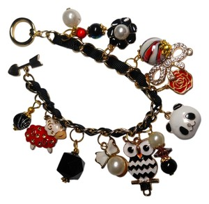 Other Charm Bracelet Red Black White Gold Lamb Panda Owl Flower J2454
