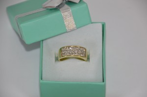 1.00ct. Invisible Set Princess Cut Genuine Diamond 14k Yellow Gold Wedding Band Size 7