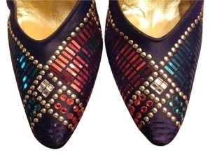 St. John Studded Leather Shine Multi colored sparkles (Purple, Fuchsia, Teal, Gold) Formal