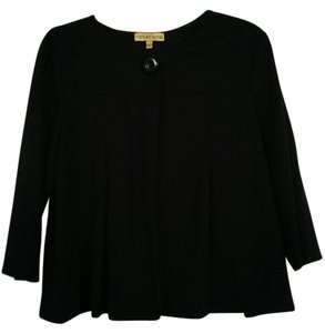 Notations Jacket Button Crop Top Black Blazer