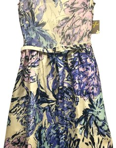 Taylor short dress Cream, purple and periwinkle on Tradesy