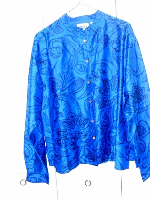 Chico's Long-sleeved Silk Mandarin Collar Holiday electric blue with black embroidery Jacket