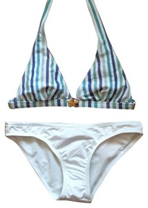 BCBGMAXAZRIA Striped Halter Top with Starfish Detail Bikini Swimsuit