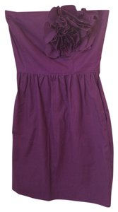 short dress Purple Strapless Embellished on Tradesy