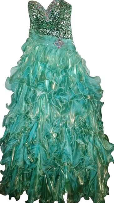 Preload https://item2.tradesy.com/images/mystique-boutique-green-strapless-shimmering-ruffled-long-formal-dress-size-4-s-14904346-0-1.jpg?width=400&height=650