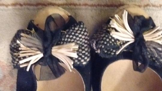 Kanna Two-tone Leather Lined Black fabric with neutral tan rope fabric Wedges