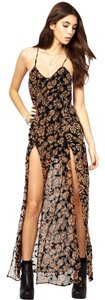 Multi-color Maxi Dress by For Love & Lemons Burnout Rare Sold Out Flocked Maxi