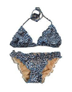 BCBGMAXAZRIA Ruffled Triangle Bikini w Crystal Accents